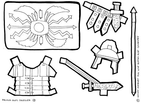 Roman Shield Colouring Pages sketch template