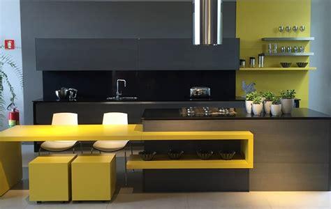 yellow black kitchen