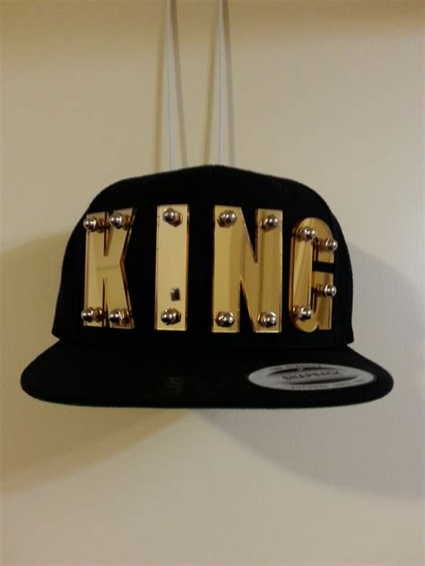 king custom 3d gold mirrored acrylic snapback cap hat bolted