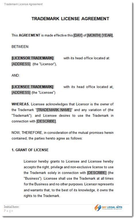 trademark license licensing agreement template
