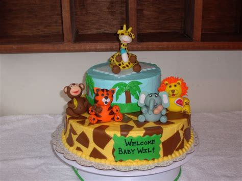 Animal Baby Shower Cakes by Custom Cakes By Jungle Animals Shower Cake
