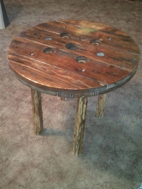 diy cable reel table with cedar legs home accents
