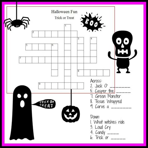 printable october puzzles halloween crossword puzzles for kids october