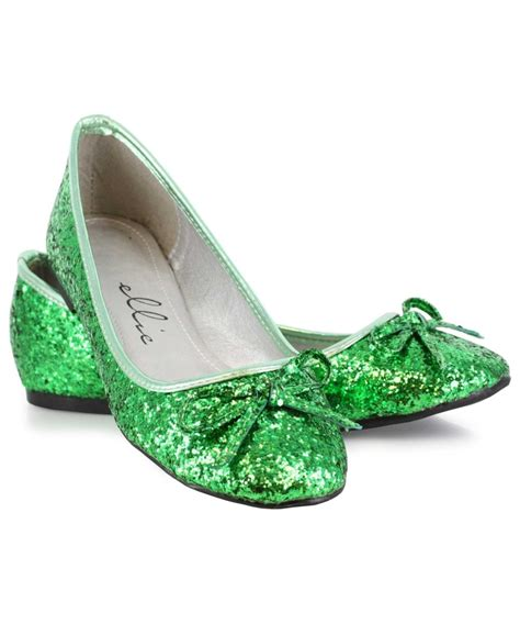 green shoes flats green glitter flats costume shoes