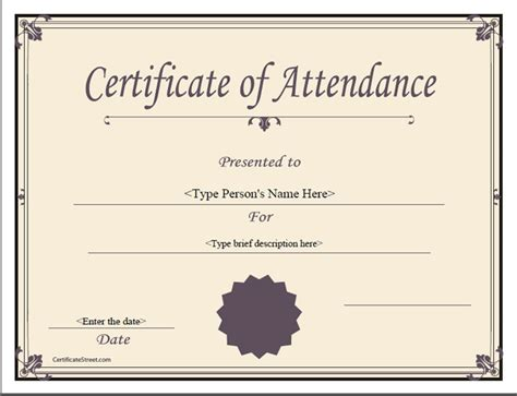 attendance certificate templates free quotes for attendance certificates quotesgram