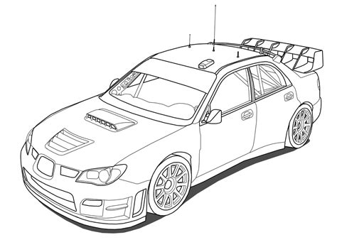 coloring pages of rally cars subaru impreza sti wrc outline by outcastone deviantart