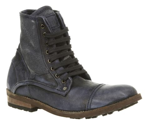 mens rugged leather boots mens feud visage hi navy blue rugged washed leather lace up boots ebay