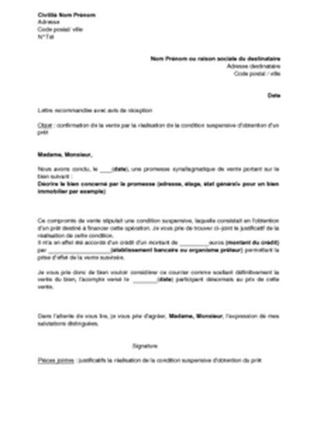 Modèle Condition Suspensive exemple de lettre de confirmation