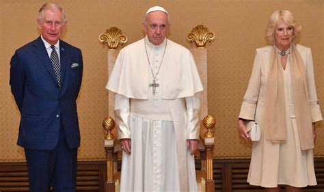 camilla prince charles prince charles and camilla meet the pope in vatican during