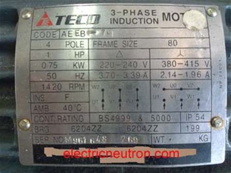 3 phase induction motor nameplate details terminal connection for induction motor electrical engineering centre
