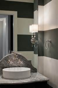 Rooms With Black Walls powder room with black and white striped walls contemporary