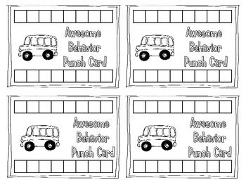 punch card template for stuff behavior punch cards for classroom management by mrs mabe