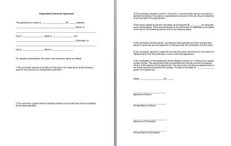 independent contractor agreement sle template contractor agreement free printable documents