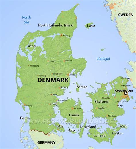 physical map of denmark denmark physical map