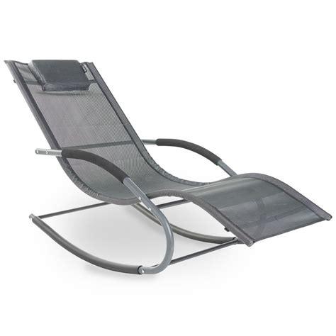 Rocking Garden Lounger Vonhaus Rocking Sun Lounger Chair Textoline Relaxing Reclining Outdoor Garden Ebay