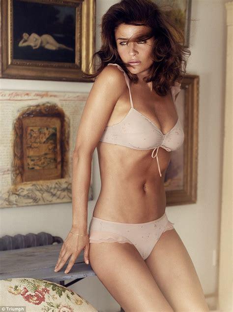 lingerie women 40 helena christensen strips off to model triumph lingerie