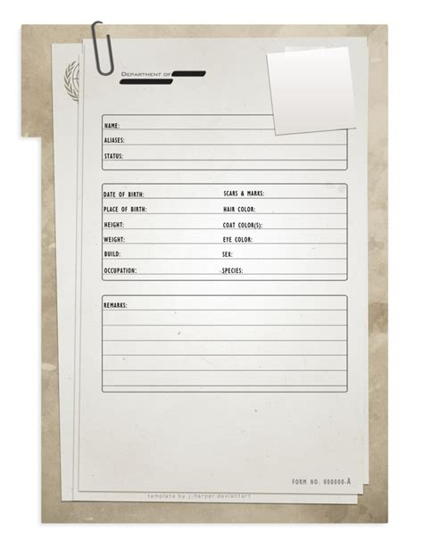 Dossier Template dossier template by j on deviantart