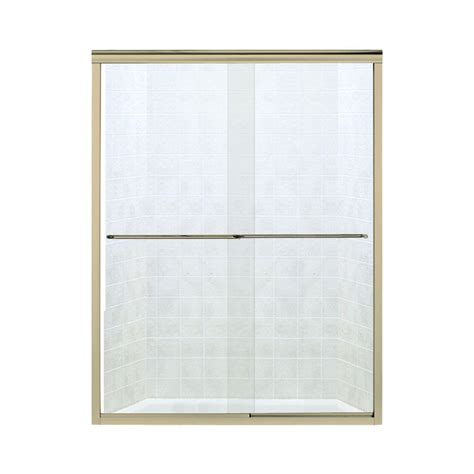 Sterling Glass Shower Doors by Sterling Finesse 57 In X 70 5 16 In Semi Frameless Sliding Shower Door In Polished Brass With