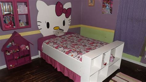 hello kitty headboard unique hello kitty kid girls bed with painted wall