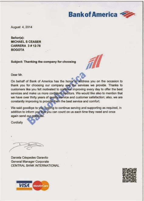 Bank Thank You Letter Mike S Bogota Who Ll Teach Bank Of America