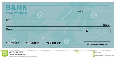 bank check template bank check cheque template stock vector image 46820935