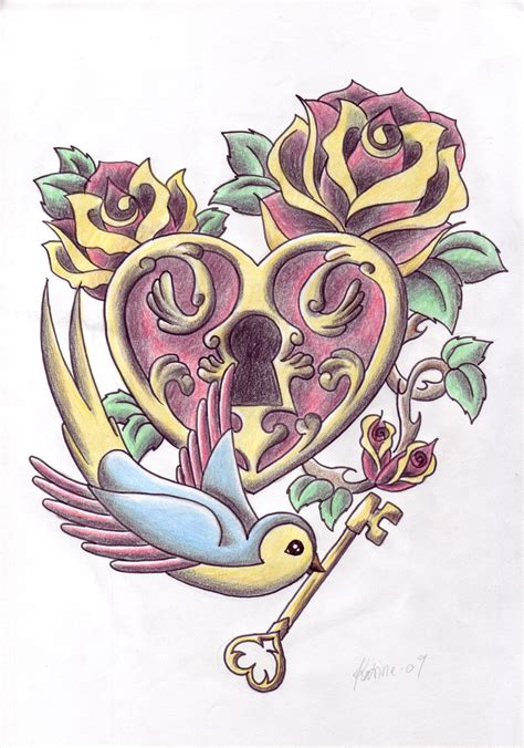 heart and lock tattoo lock bird and key tattoos sle tattooshunt