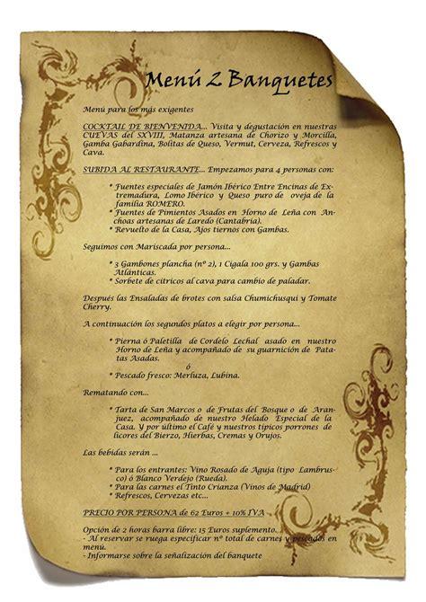 menus de banquetes celebra tu boda madrid en las cuevas principe
