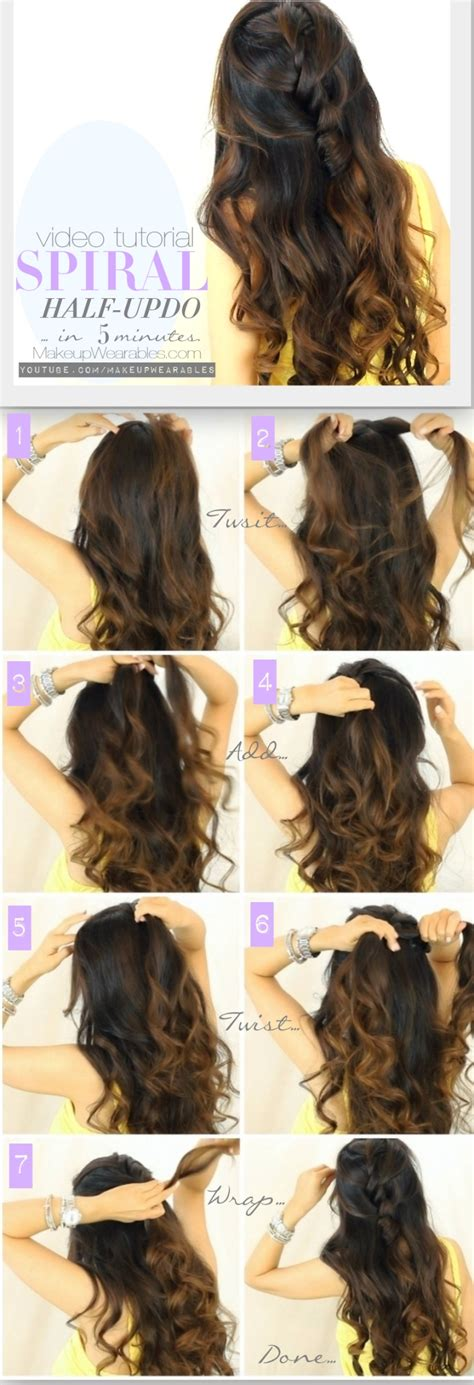 half up half down daily hairstyles 5 minute spiral half updo daily hairstyles for long hair