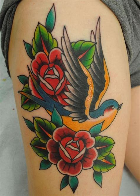 rose swallow tattoo roses search ideas