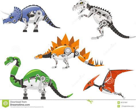 Robo Dinosaur robot dinosaur set stock illustration illustration of