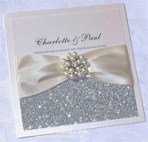 brooch silver glitter wedding invitations  cards