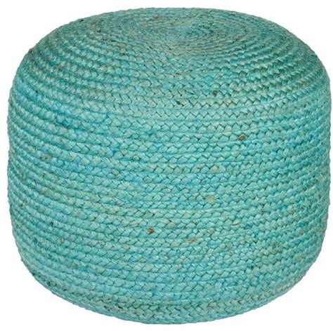 Teal Pouf Ottoman Contemporary Tropics Teal Pouf Ottoman Contemporary Footstools And Ottomans By Rugpal