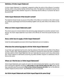 Business Impact Statement Template sle victim impact statement 9 exles in word pdf