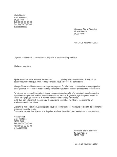 Stage Psychologie Lettre De Motivation modele lettre de motivation master 2 psychologie clinique document