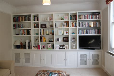 furniture white stained wood custom built in bookshelf