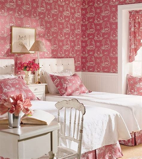 pink and white bedroom wallpaper bed bedroom decor floral interior pink image 53831