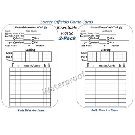soccer referee score card template soccer card footballreferee officlals card