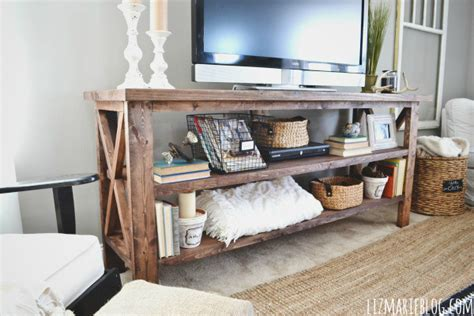 geschlossene holzkisten diy rustic x base console table the chronicles of home
