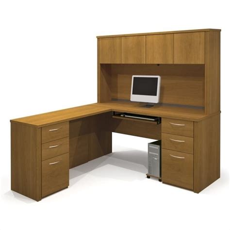 Wood Desks For Home Office Bestar Embassy Home Office L Shape Wood Computer Desk With Hutch In Cappuccino Cherry 60853 68