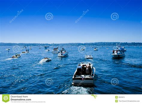 boating license seattle boating traffic jam sea fair lake washington stock image