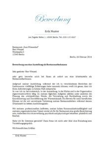 Anschreiben Bewerbung Ausbildung Restaurantfachmann muster f 252 r bewerbungen gangway e v