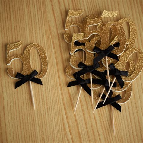 Black And Gold 50th Birthday Decorations by Custom Number Antique Gold Glitter 50th Birthday Cupcake