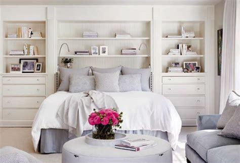 built in shelves in bedroom great use of space without looking cred by building