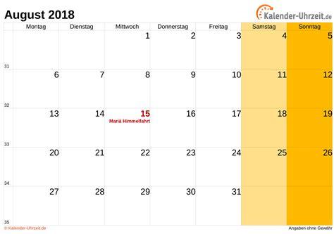 Kalender 2018 August Und September August 2018 Kalender Mit Feiertagen