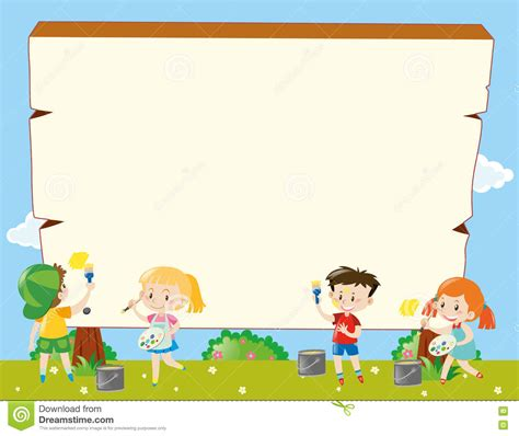 border template with kids painting stock vector