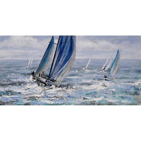 zeilboot op zee schilderij zeilboten op zee 60 x 120 cm geschilderd