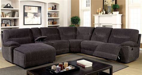 gray sectional sofa with recliner karlee ii gray reclining sectional with console from