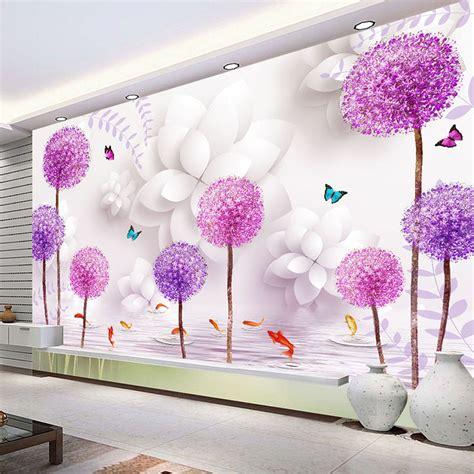 flower wallpaper home decor aliexpress com buy 3d stereo dandelion wall mural