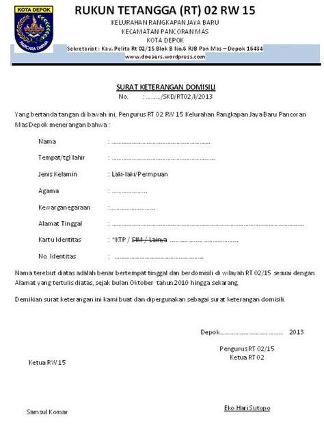 contoh surat domisili wisata dan info sumbar