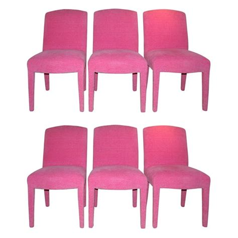 Fully Upholstered Dining Room Chairs Six Dining Chairs Fully Upholstered In Pink Chenille Fabric At 1stdibs